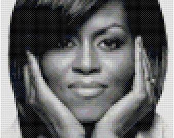 Michelle Obama cross-stitch portrait digital pattern