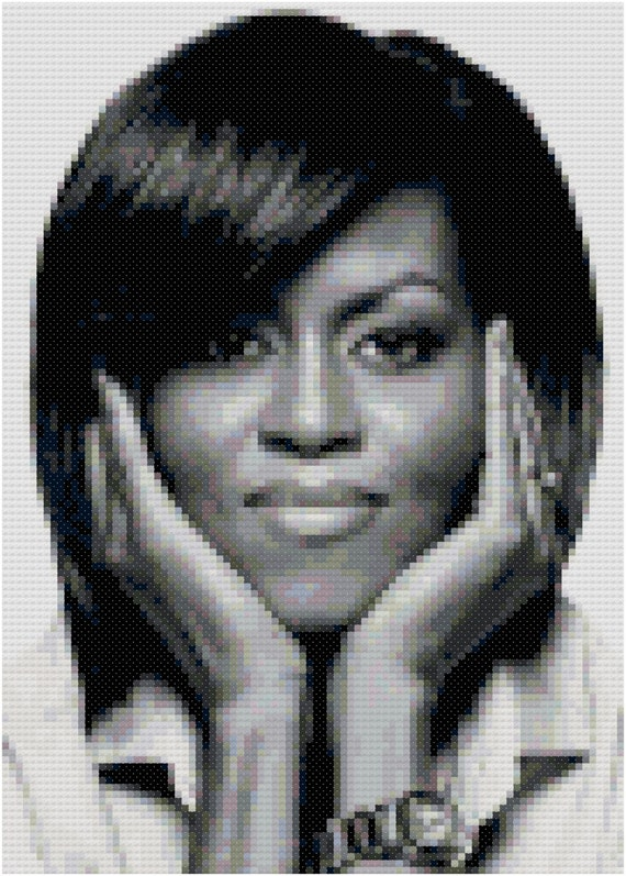 Michelle obama cross stitch portrait digital pattern