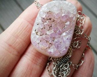 SALE, Amethyst Necklace, Amethyst Pendant, Druzy Necklace, Raw Amethyst, Purple Amethyst, Purple Druzy, Sterling Silver, Amethyst Druzy