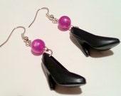 Pearly Pretties Barbie Shoe Earrings in Black and Purple Vintage Doll High Heels