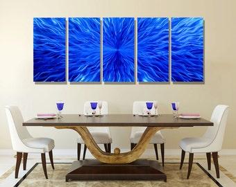 NEW! Huge Blue Modern Metal Wall Art, Abstract Multi Panel Wall Sculpture, Extra Large Metal Wall Decor - Blue Vortex XL by Jon allen