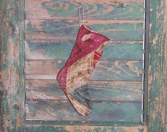Small Primitive Stocking Christmas Ornament, Christmas Stocking, Christmas Decor, Antique Quilt Stocking, Claret Purple White Blue