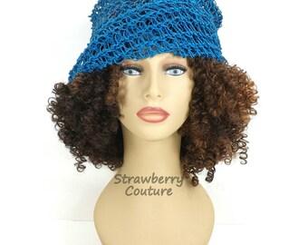 Crochet Womens Summer Hat,  Crochet Sun Hat,  Floppy Sun Hat,  Floppy Hat,  Hemp Hat,  Turquoise Hat,  Ombretta Summer Beanie Hat