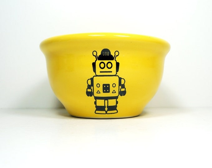 Featured listing image: small bowl with Robot print, shown on Lemon Butter glaze -  Made to Order / Pick Your Colour
