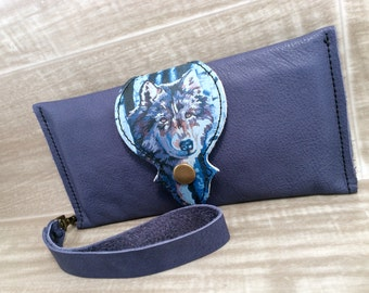 Leather Long Wallet, Phone Case Wrist Strap & Zipper Pocket Purple / Wolf Print,* SALE * Coupon Codes