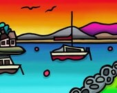Sunrise Over Borth Y Gest - colourful fine art giclee print by Amanda Hone