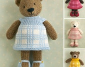 Knitted Toy knitting pattern for a girl bear with a plaid dress