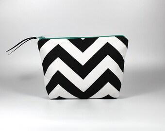 Black and White Chevron Zipper Pouch - Blue Zipper