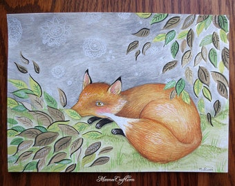Original watercolour, pencil and ink on paper, 'Late Snow' marmeecraft fox illustration