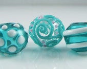 Teal Mix of Hollow Lampwork Glass Bead Set (5)