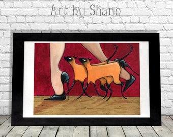 Siamese Cat Art Print, Cat Home Decor, Cat Wall Hanging, Crazy Cat Lady Gift, Cat Illustration, Sexy Cat Art, Colorful Art Print, SHANO