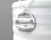 Music In My Soul Necklace Sterling Silver Necklace Sheet Music Necklace Music Pendant Music Lover Bohemian Jewelry - Medium