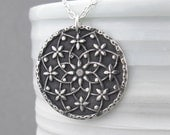 Silver Mandala Necklace Hippie Jewelry Boho Jewelry Unique Silver Jewelry Handmade Mother's Day Gift for Her - Filigree Mandala