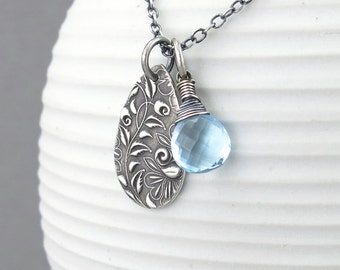 Blue Topaz Necklace Simple Silver Necklace Blue Gemstone Pendant Necklace Gemstone Jewelry Handmade Silver Jewelry - Solo