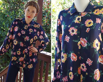 PINK Poppy 1970's 80's Vintage Colorful Navy Blue Floral Button Front Blouse w/ Long Sleeves // Lightly Sheer // size Medium Large