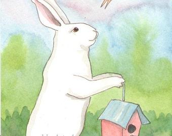Original Art - Birdhouse - Watercolor Rabbit Painting