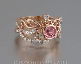 ODELIA Pink Tourmaline and white sapphires 14K gold engagement ring & wedding band set Art Nouveau inspired