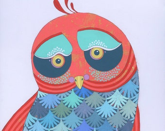 Little Birdy - Original Acrylic Art Owl Painting