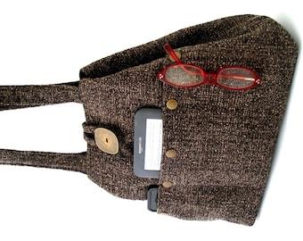 shoulder bag purse, black and brown tote handbag, fabric handbag, shoulder purse, hobo bag, black handbag ,tote bag with pockets, vegan bag