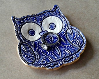 Ceramic Owl Ring Holder Bowl Cobalt Blue edged in gold