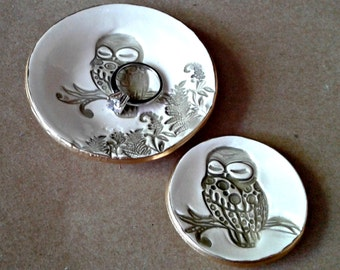 Ceramic Nesting OWL Ring Dishes set of TWO edged in gold