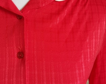Vintage Red Blouse with White Trimmed Peter Pan Collar M L