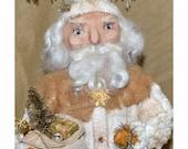Papier Mache Christmas Santa Victorian Inspired Candy Container Folk Art