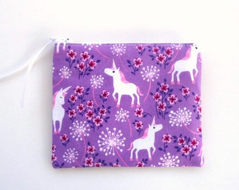 Zipper Coin Purse, Pencil Case, choose your size, Zipper Pouch with magical Unicorns