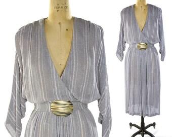 70s Boho Cotton Gauze Dress / Vintage 1970s Dress by Sybil / Woven Cotton Gauze Artsy V-Neck Dress with Batwing Sleeves & Belt / Grey Stripe