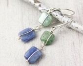 Blue and Green Kyanite Wrapped Square Earrings