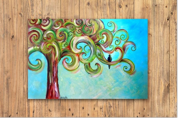 Tree of Life original painting, XL Free Ship 24 x 48 canvas roll , curly tree, blue green neutral earthy,whimsical landscape wall art