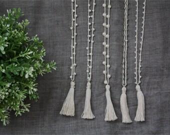 Crochet mala necklace, long light beige tassel necklace, 5 different beads
