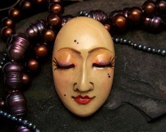 Serene Goddess Face Cabochon a handmade, hand painted, OOAK polymer clay face cab by sculptedwindows