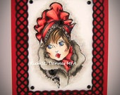 1960 Couture High Fashion Hat Handmade OOAK Greeting Art Card