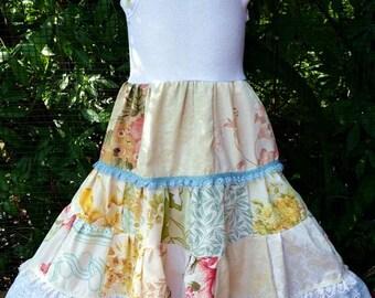Cottage Rose Girls Patchwork Dress -size 4-5-6
