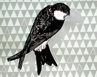 swallow - linocut print - limited edition of 25