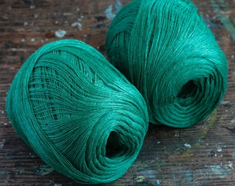 Linen yarn thread -- one ball -- green -- 2-ply