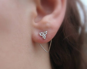 Triangle Gemstone Studs with Hammered Earring Jacket in Sterling Silver Front Back Earring