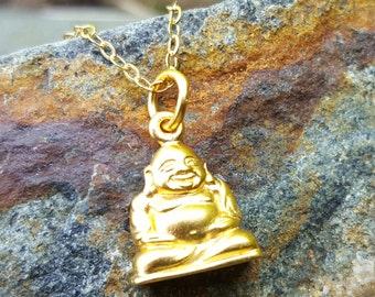 Gold Buddha Necklace - 18 Inch Yoga Jewelry - Happy Buddha