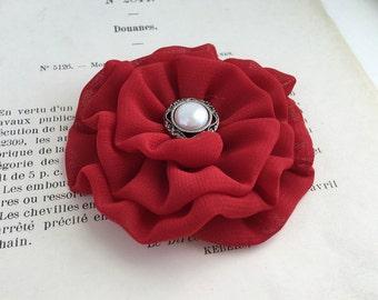 Red Flower Hair Clip.Small Red Flower Brooch.Mini Flower hair piece.Flower Girl Headpiece.bridesmaid.bridal.wedding accessory.Red Flower Pin