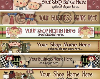 Raggedy Dreams  Designs - Premade Etsy Shop Banner - Etsy Banner - SHOP ICON - Assorted Primitive Raggedy Annies