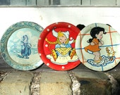 SALE 3 Vintage OHIO ARTS Childs Tin Plates Colorful Designs Graphics Toy Assemblage Curiosity Cabinet Supplies Play House Adorable Graphics