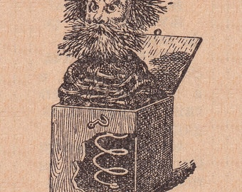 Jack in the Box or Boite a Surprise old french dictionary illustration, vintage printabl digital image no.1076.