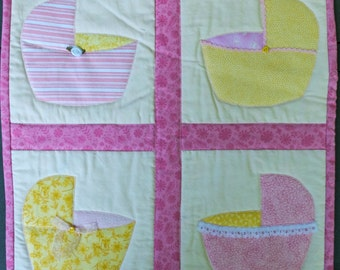 Pink & Yellow Baby Bassinets Quilted Wall Hanging by Made Marion