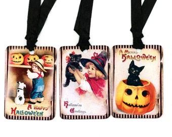 Halloween Treat Tags , Vintage Halloween , Pumpkins , Witch , Black Cat , Merry Halloween , Halloween Greetings , Happy Halloween