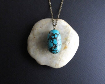 Turquoise Layering Necklace, Simple Brass Boho Necklace