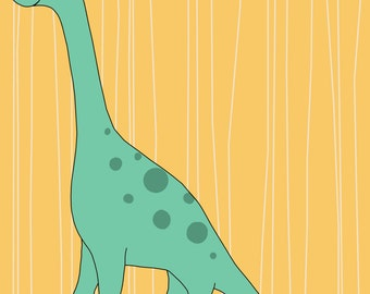 Brontosauraus Print, Fine Art Print by Kate Durkin, Nursery Alphabet Art