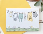 New Baby Card - Yellows and Greys – Personalised Washing Line – Baby Boy – Baby Girl – Baby Keepsake Card – For New Parents