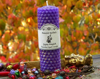 Gypsy Magick Beeswax Spell Candle - Luck, Fortune, Divination, Travel, Psychic Awareness, Mysticism, Spirituality, Pagan Supplies, Wicca