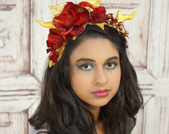 Horned Headdress, Red and Gold, Woodland, Costume Headpiece, Maenad, Dragon Horns, Satyr, Faun, Fantasy, Flower Crown